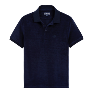Men Others Solid - Men Terry Cloth Polo Shirt Solid, Navy front