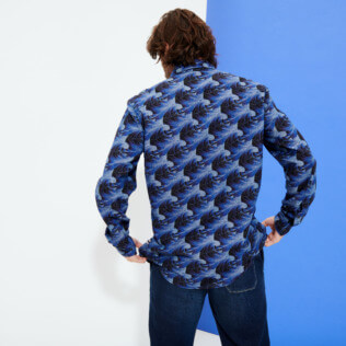 Men Others Printed - Men Chambray Shirt Waves, Navy backworn