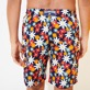 Men Long classic Printed - Men Swim Trunks Long 1977 Spring Flowers, Navy backworn
