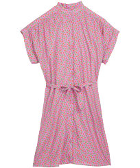 女款 Others 印制 - Women Cotton Shirt Dress Indian Ceramic, Pink berries front