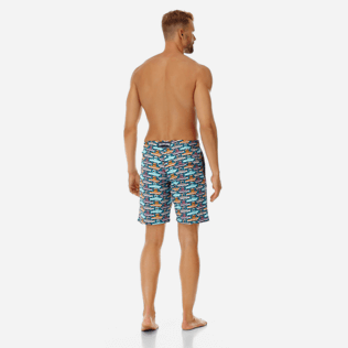 Men Long classic Printed - Men Long Stretch Swimwear Mykonos, Tropezian blue backworn