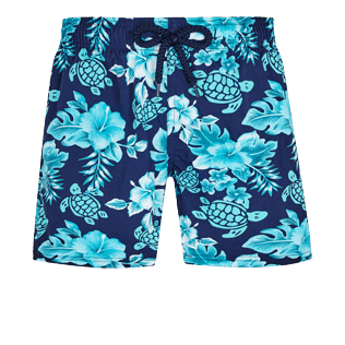 Boys Others Printed - Boys Swim Trunks Stretch Turtles Flowers, Navy front