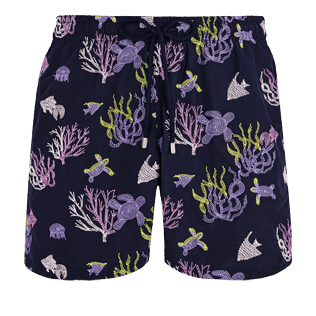 Men 017 Embroidered - Men Swimwear Embroidered Coral and Turtles - Limited Edition, Navy front