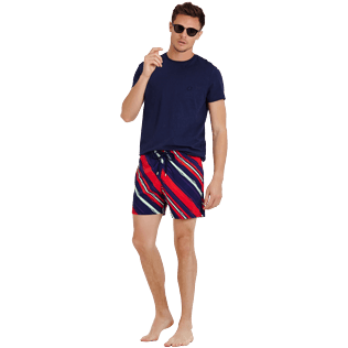 Hombre Clásico stretch Estampado - Men Swimwear Stretch Diagonal Stripes, Ciruela supp2