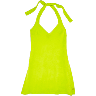 Women Dresses Solid - Women Short Halter Terry Cloth Dress Solid, Lemongrass front