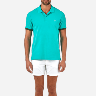 Men Polos Solid - Solid Cotton pique polo, Veronese green supp1