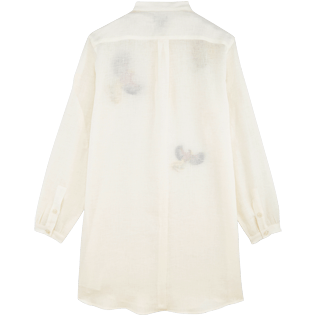 Women Others Embroidered - Women Stand-up collar Linen Shirt Embroidered Birds of Paradise, White back