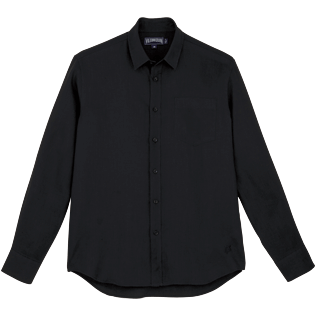 Men Shirts Solid - Solid Linen Shirt, Black front