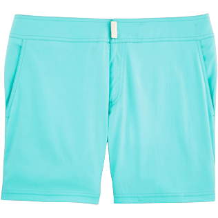 Men Fitted Solid - Men Short and Fitted Stretch Swimwear Solid, Lagoon front