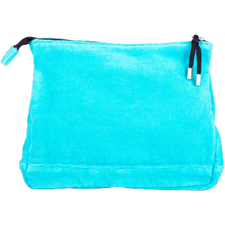 Bags Solid - Zipped Beach pouch in Terry Cloth Solid Jacquard, Curacao back