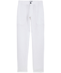 Men Others Solid - Men Linen Pants Straight Solid, White front