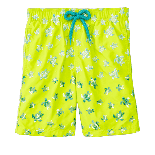 Boys Classic / Moorea Embroidered - Boys Swimtrunks Embroidered Micro ronde des tortues - Limited Edition, Chartreuse front
