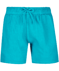Boys Others Solid - Linen Boys Shorts Bermuda Solid, Light azure front