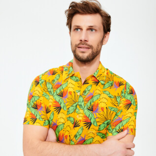 Men Others Printed - Men Bowling Shirt Cotton and Linen Go Bananas, Curry supp1