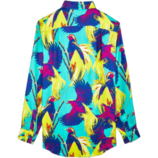 Women Others Printed - Women Twill Silk Shirt Birds of Paradise, Veronese green back