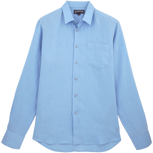 Men Shirts Solid - Men Linen Shirt Solid, Sky blue front