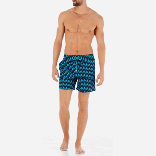 Men Classic Printed - Poissons Hamac Swim shorts, Azure frontworn