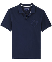 男款 Others 绣 - Men Cotton Pique Polo Shirt Solid, Navy front