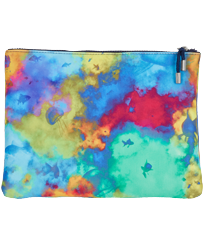 Others Printed - Beach Pouch Holi Party, Batik blue front
