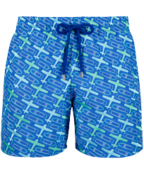 Men Embroidered Embroidered - Men Embroidered Swim Trunks St Barth - Limited Edition, Sea blue front