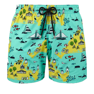 Men Classic Printed - Men Swimwear Martha's Vineyard, Mint front