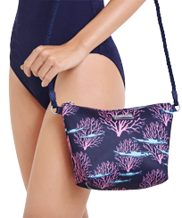 Others Printed - Beach Shoulder Bag Coral & Fish, Navy frontworn