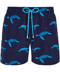Men 017 Embroidered - Men Swimwear Embroidered Origami Turtles - Limited Edition, Midnight blue front