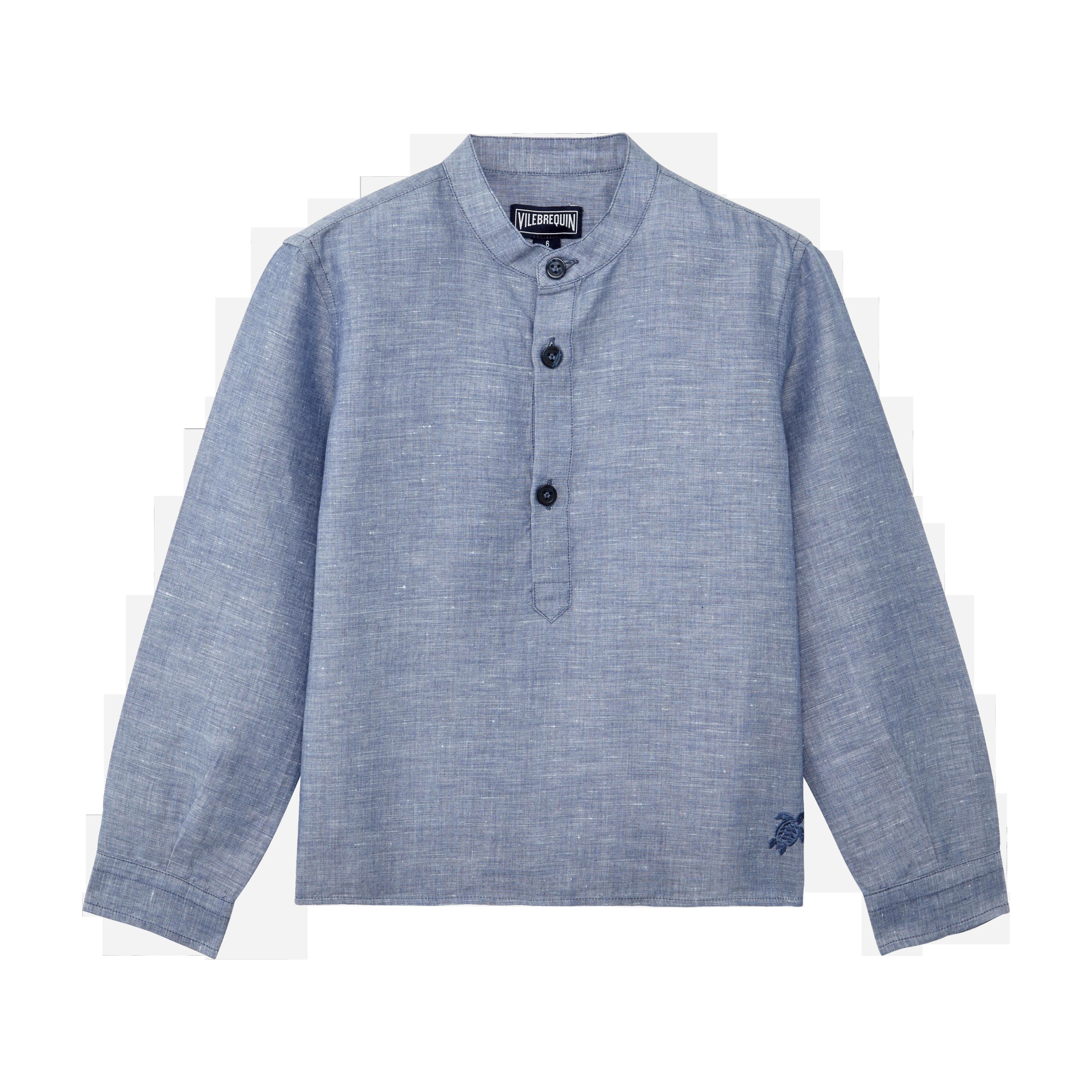 VILEBREQUIN | Boys Ready to Wear - Boys Linen Cotton Shirt Solid - SHIRT - JOMAO - Blue - 14 - Vilebrequin | Goxip