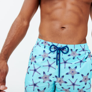Uomo Classico lungo Stampato - Men Long Ultra-light and packable Swimwear Starfish Dance, Lazulii blue supp2