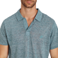 Men Others Solid - Men Linen Jersey Polo Shirt Solid, Heather green blue supp1