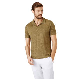 Men Others Solid - Men Linen Jersey Polo Shirt Solid, Heather sycamore frontworn