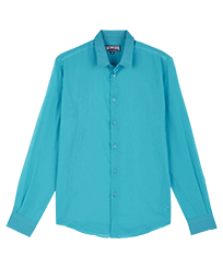 Others Solid - Unisex Cotton Voile Light Shirt Solid, Light azure front