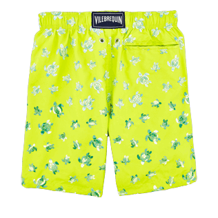 Boys Classic / Moorea Embroidered - Boys Swimtrunks Embroidered Micro ronde des tortues - Limited Edition, Chartreuse back