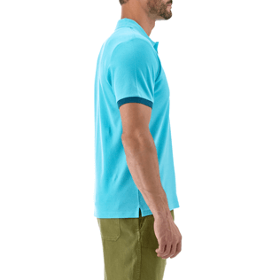 Men Polos Solid - Solid Cotton pique polo, Azure supp1
