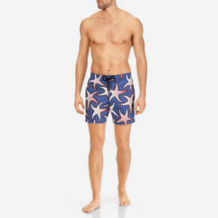 Men Ultra-light classique Printed - Men Lightweight and Packable Swimwear Starfish Art, Neptune blue frontworn