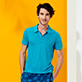 Men Others Solid - Men Linen Jersey Polo Shirt Solid, Light azure supp2