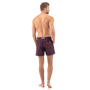 Men Embroidered Embroidered - Tattoo Embroidered Swim shorts, Navy backworn