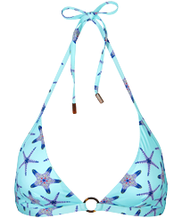 Women Halter Printed - Women Halter Bikini Top Starfish Dance, Lazulii blue front
