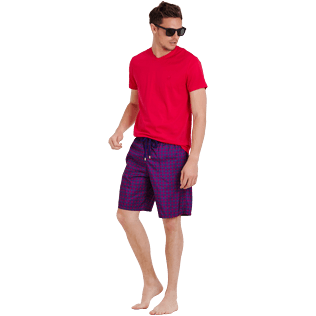 Men Long classic Printed - Men Swimtrunks Long Ultra-light and Packable Perspective Fish, Plum supp2