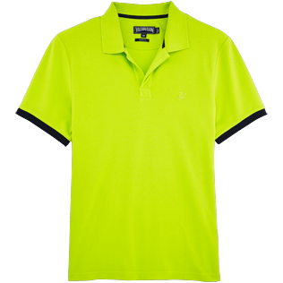 Men Polos Solid - Solid Cotton pique polo, Lemongrass front