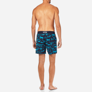 Men Classic / Moorea Printed - Primitive Art Flocked Swim shorts, Navy backworn