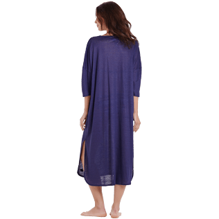 Women Others Solid - Women Linen Beach Cover-up Solid, Midnight blue backworn