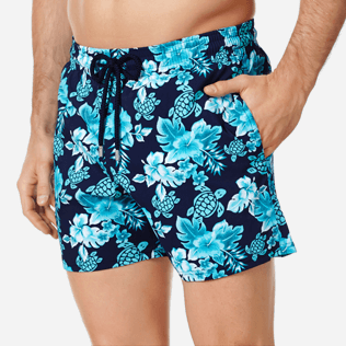 Men Stretch classic Printed - Men Swim Trunks Stretch Turtles Flowers, Navy supp1