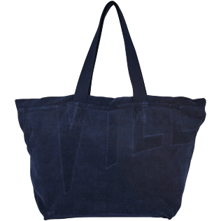 Others Solid - Big terry cloth Beach Bag Jacquard Solid, Navy back