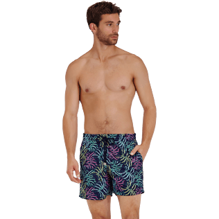 Men Classic Embroidered - Men Swimwear Embroidered Jungle - Limited Edition, Midnight blue frontworn
