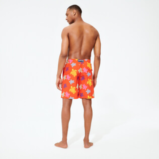 Men Long classic Printed - Men Swim Trunks Long Tortues Multicolores, Medlar backworn