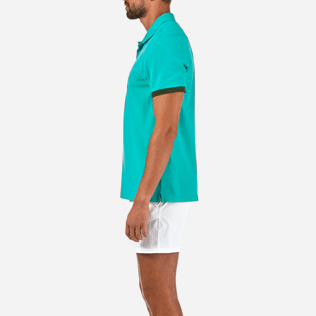 Men Polos Solid - Solid Cotton pique polo, Veronese green supp3