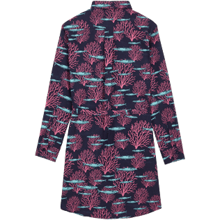 Women Others Printed - Women Cotton Voile Shirt Dress Coral & Fish, Navy back