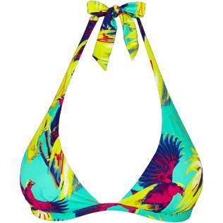 Women Halter Printed - Women Triangle Bikini Top Birds of Paradise, Veronese green front