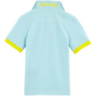 Boys Polos Solid - Solid Cotton pique polo, Frosted blue back